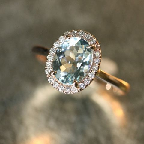 Handmade Natural Aquamarine Engagement Ring 9x7mm Oval Aquamarine Wedding Ring Halo Diamond Ring 14k Rose Gold (Other Metals Available)
