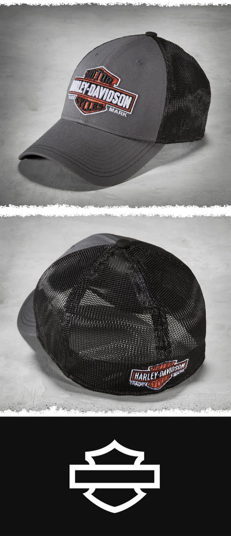 Retro trucker styling with a modern stretch fit. | Harley-Davidson Men's Trademark 39THIRTY Trucker Cap #FathersDay
