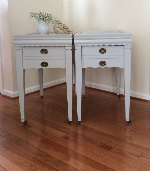 Pair of Hand Painted End Tables, Shabby Chic Nightstands, Distressed End Tables, Vintage End Tables