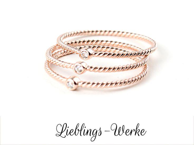Vorsteckringe - Zart: Ring Silber rosévergoldet mit Zirkonia - ein Designerstück von Lieblings-Werke bei DaWanda
