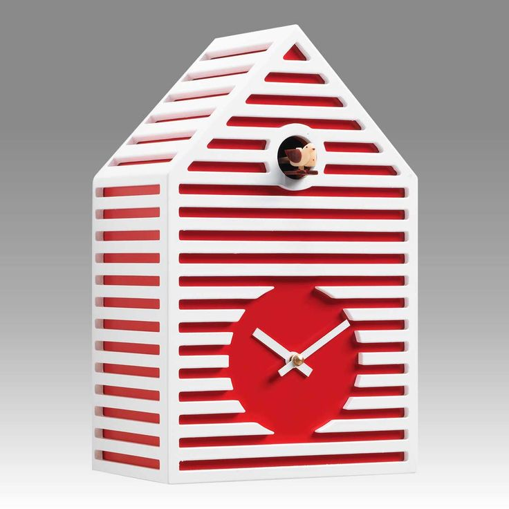Modern Cuckoo Clock Art.beach 2597 Lacquered With Acrilic Color Red