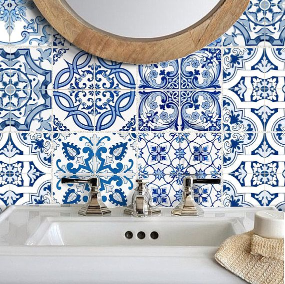Tile Stickers Vinyl Decal Waterproof Removable:  Blue Spanish