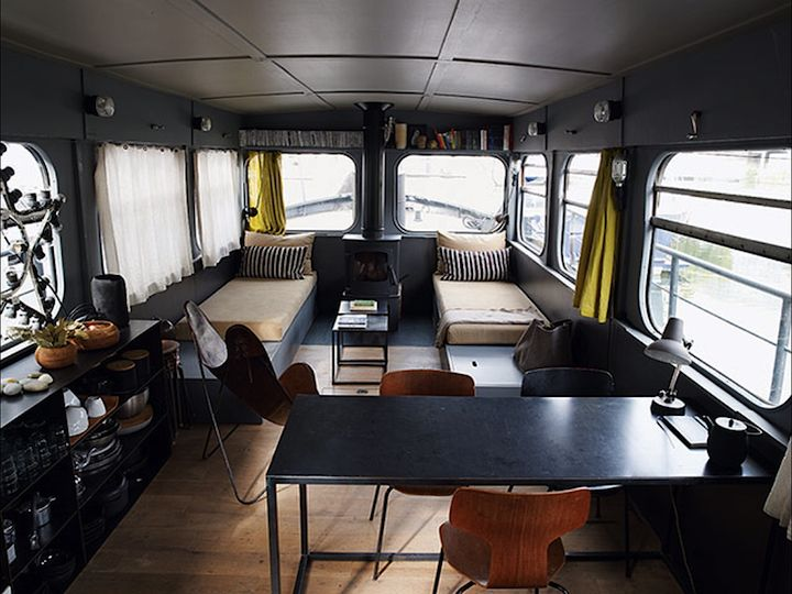 Though it could be quite somber, there's something about this that I really like (http://www.frenchbydesignblog.com/2012/12/houseboat-living-in-paris.html)