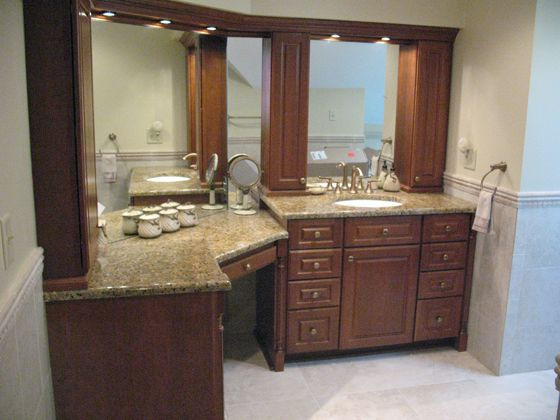 Bathroom Vanity Cabinets with Makeup  Accent tile runs at