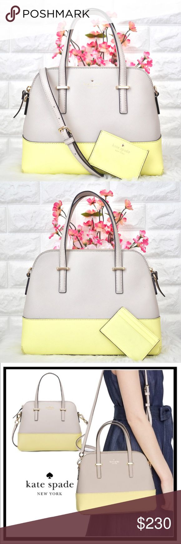 """💖Kate Spade Cedar Street Maise with Card Holder LIKE NEW. • Purse is Like new. No stains rips or tears. • Card Holder is in good used condition, has some wear. Can hold 5-6 cards for me.  Color: Taupe/Yellow Material: Crosshatched Leather  Dimension: 9H x 11.2W x 5D Strap Drop: 5"""" handheld ; adjustable: 18-20.5""""  • Accepting reasonable offers! Send yours now!💕 kate spade Bags Satchels"""