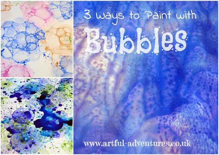 3 ways to paint with bubbles.: Bubbles Paintings Collage, Bubbles Paintings Tutorials, Paintings Bubbles, Watercolor Ideas, Bubbles Art, Art Adventure, Bubbles I, Bubbles Prints, Watercolor Bubbles