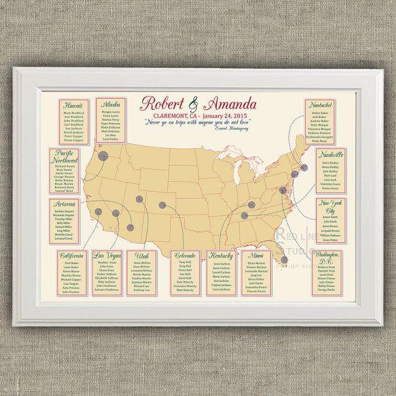 USA Map Wedding Seating Chart - Destination Wedding ...