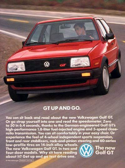 1987 VW Golf GT Coupe vintage ad Strap yourself in and read the