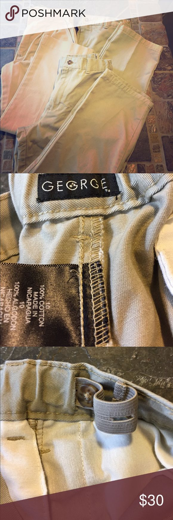School Uniform Pants 3 pair of boys size 10 REG. Two pair are the same with adjustable waist (George). They have some wear, light snags, and some small pen marks on a pair. Could be worn for church or special occasions.  My son attends a private school. George Bottoms Casual