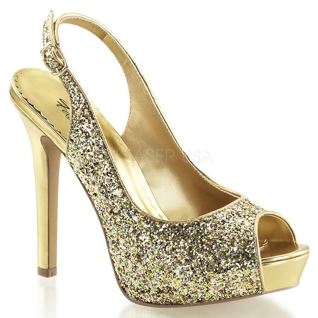 Goud Glitter 12 cm LUMINA-28G Hoge Avond Pumps Schoenen met Hak