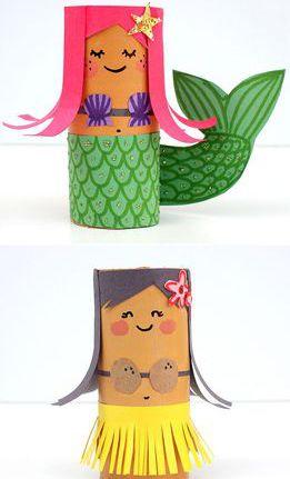 Toilet Paper Roll Hula Girl and Mermaid Kids Craft