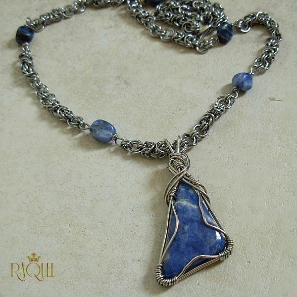 Wire wrapped sodalite cabochon  on a Byzantine chain adorned with sodalite beads. jewelry by Raquel Chelouche. Made with stainless steel wire which is hypoallergenic. $ 65