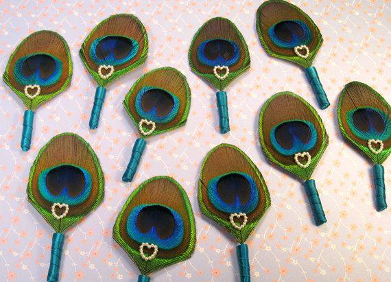 Wedding boutineres 10 accessories for men budget wedding peacock boutiniere Etsy wedding groomsmen cheap boutonnieres peacock wedding lapel. $75.00, via Etsy.