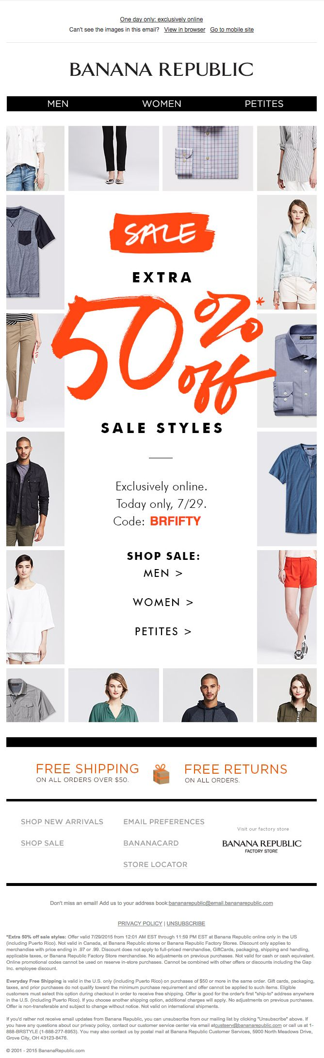 BANANA REPUBLIC: промо рассылка (29/07/15). Письмо о том, что летние распродажи еще больше только сегодня. Но хотелось бы обратить внимание на креатив: немного текста, большая привлекательная цифра и рамочка из моделей одежды. #design #email