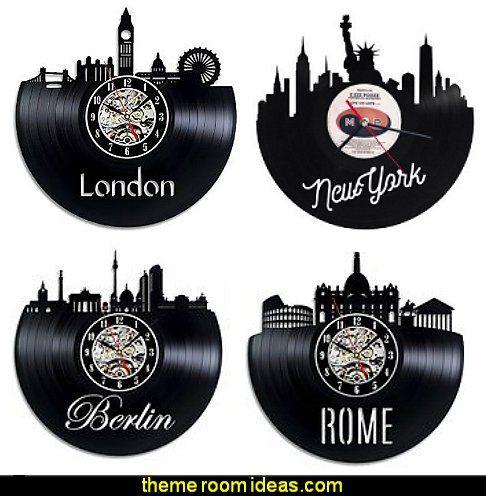 CITY THEMED vinyl record wall clocks