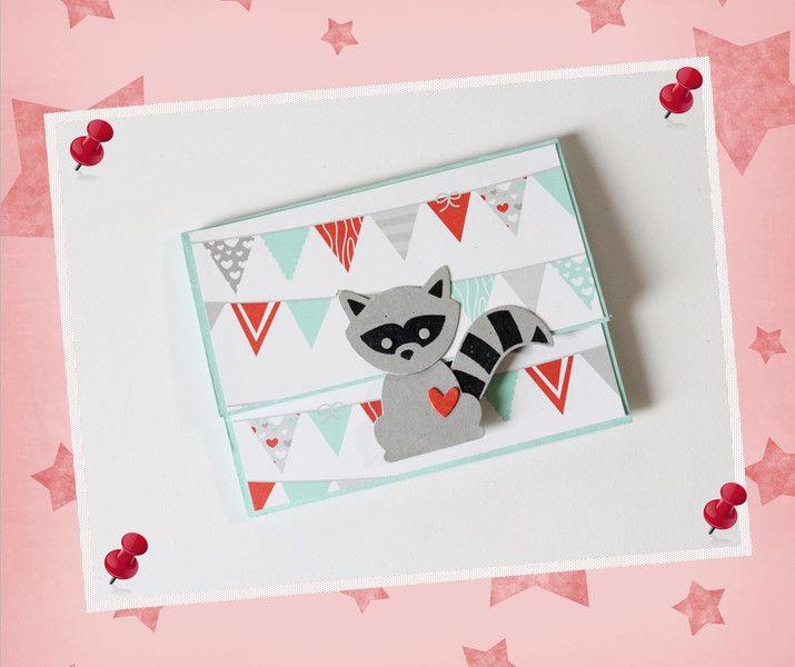 Geldgeschenke - Geschenkverpackung Gutscheinkarte Waschbär - ein Designerstück von Pusteblumendesign bei DaWanda