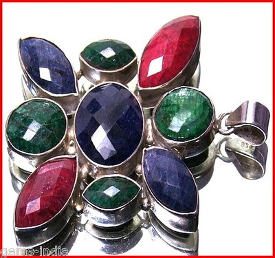 Designer Ruby Emerald Sapphire silver pendant from gems-india