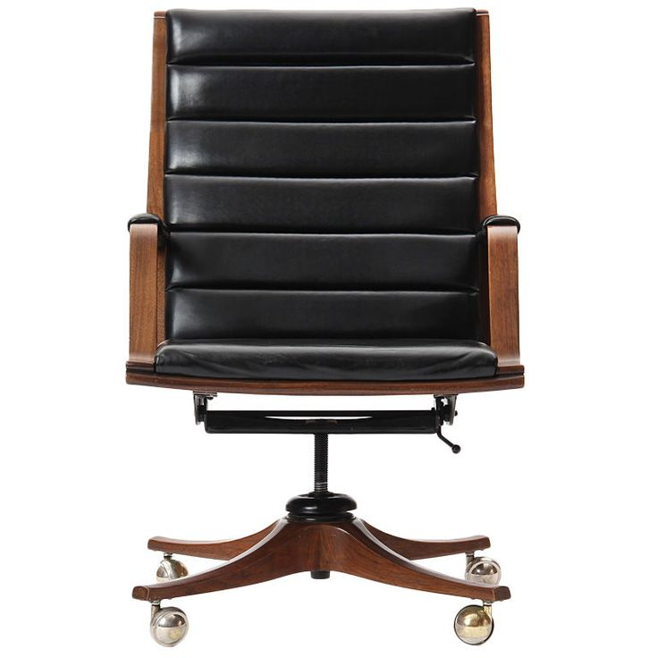 Executive Desk Chair By Edward Wormley USA 1950s A Bent Laminate Walnut Armchair With Channeled Black