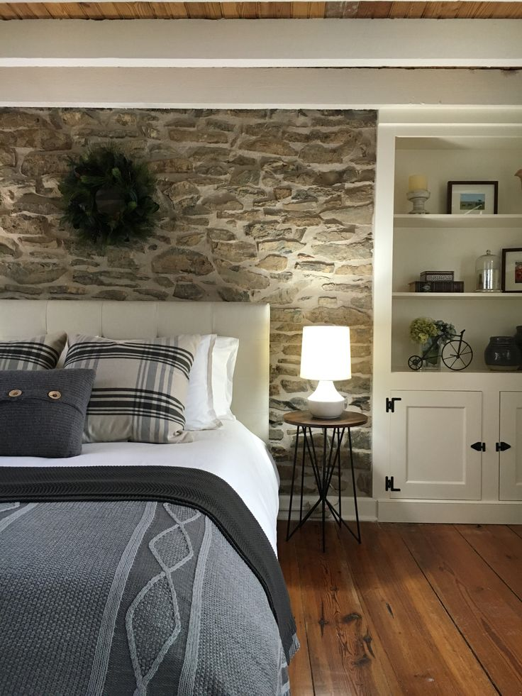 Exposed Original Stone Accent Wall Behind The Headboard. Stone House  Revival   Season One.
