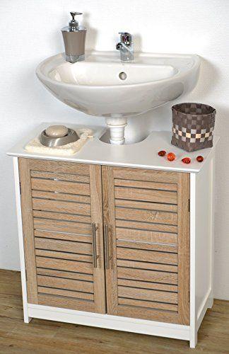 Mueble para debajo del lavabo - 2 puertas y 1 estantería - Aspecto Roble envejecido ✿ ▬► Ver oferta: https://cadaviernes.com/ofertas-de-muebles-bano/