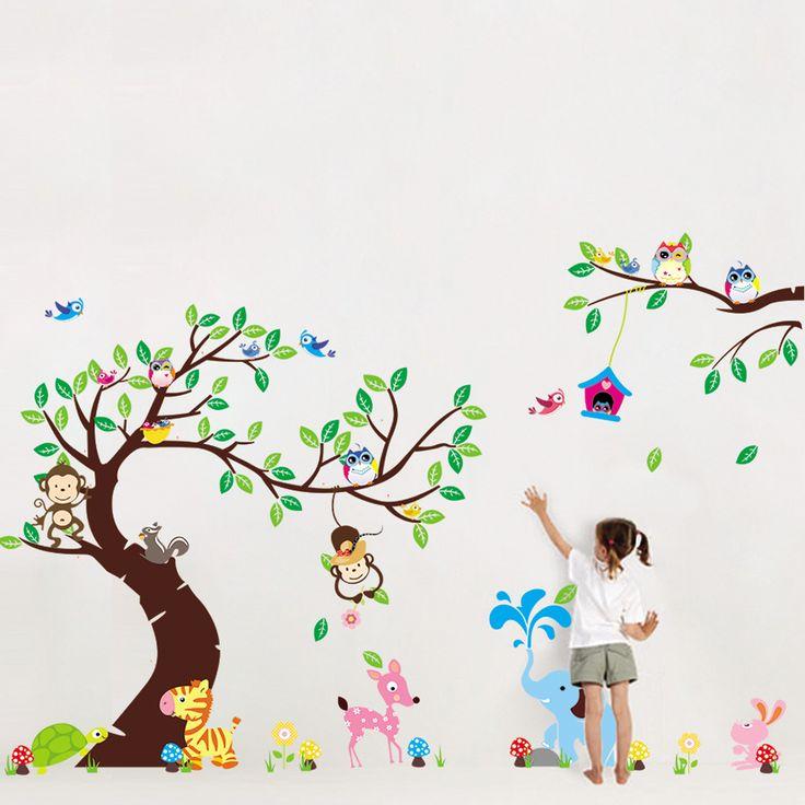 Verde albero scimmia autoadesivi della parete del fumetto sveglio creativo decalcomania della parete smontabile kid art home murale decor dropshipping(China (Mainland))