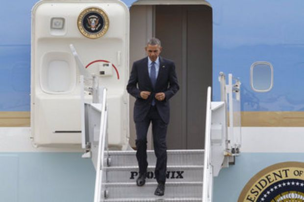 President Barack Obama has landed at Newark Liberty International Airport for a visit to Newark