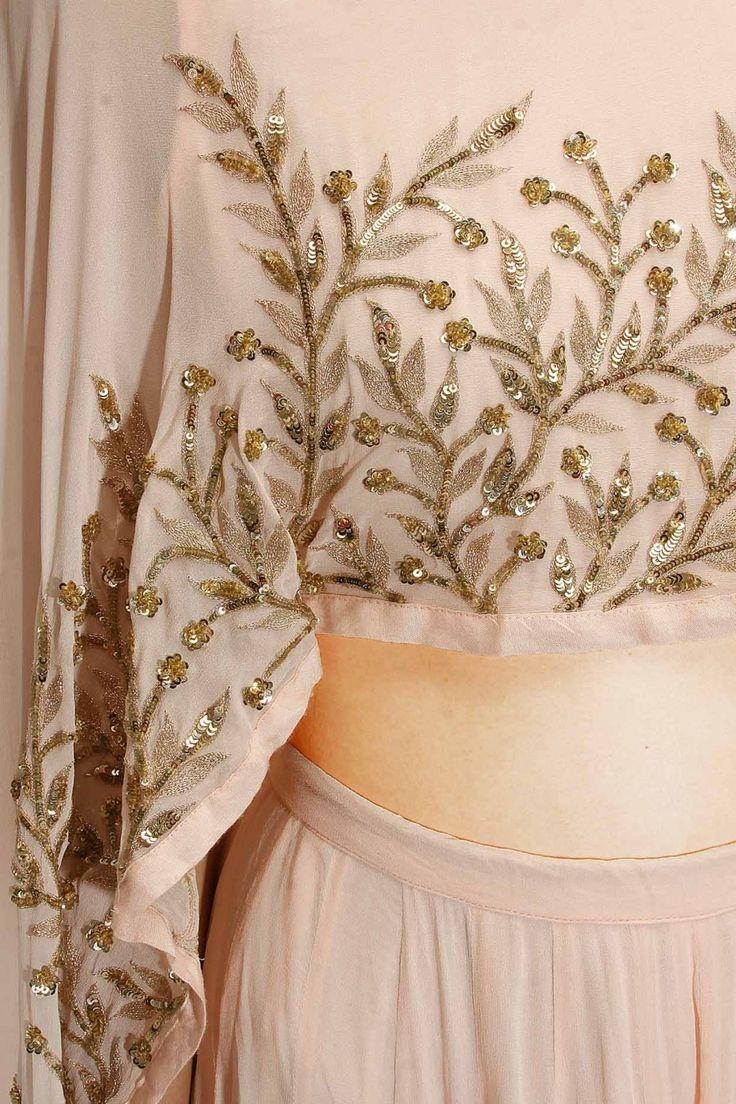 PRATHYUSHA GARIMELLA Blush pink embroidered cape lehenga set available only at…