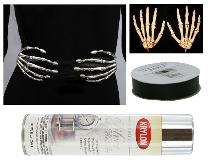 Buying skeleton hands, spraying them with metal sliver or glow-in-the-dark paint, and attaching them to a black mid-waist belt is a fantasy DIY Halloween accessory idea! -SvH