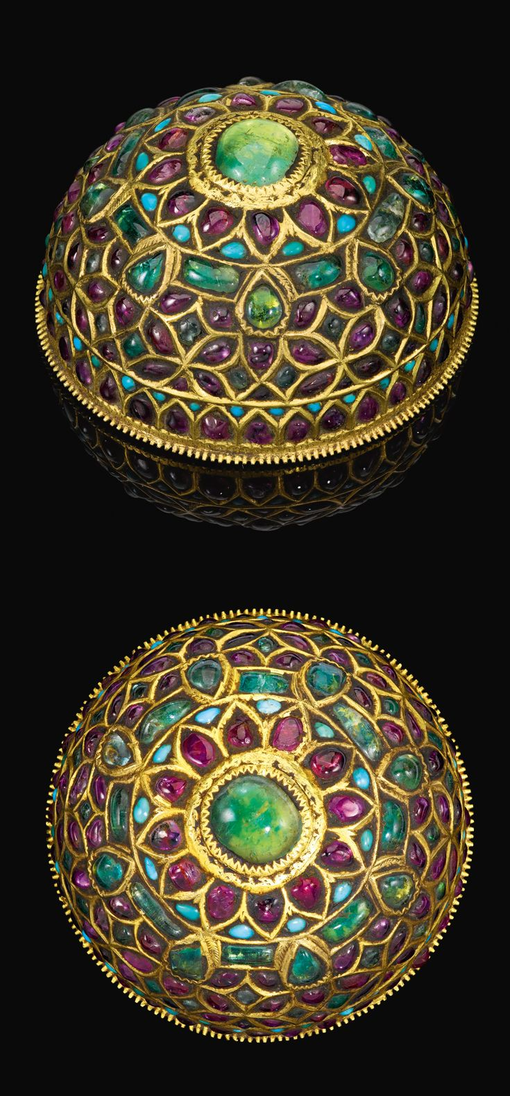 Probably South India | Gemset gold hair ornament; decorated on surface in the kundan technique with rubies, emeralds and turquoise | 19th century | Est 8'000 - 12'000£ (Sept '14)