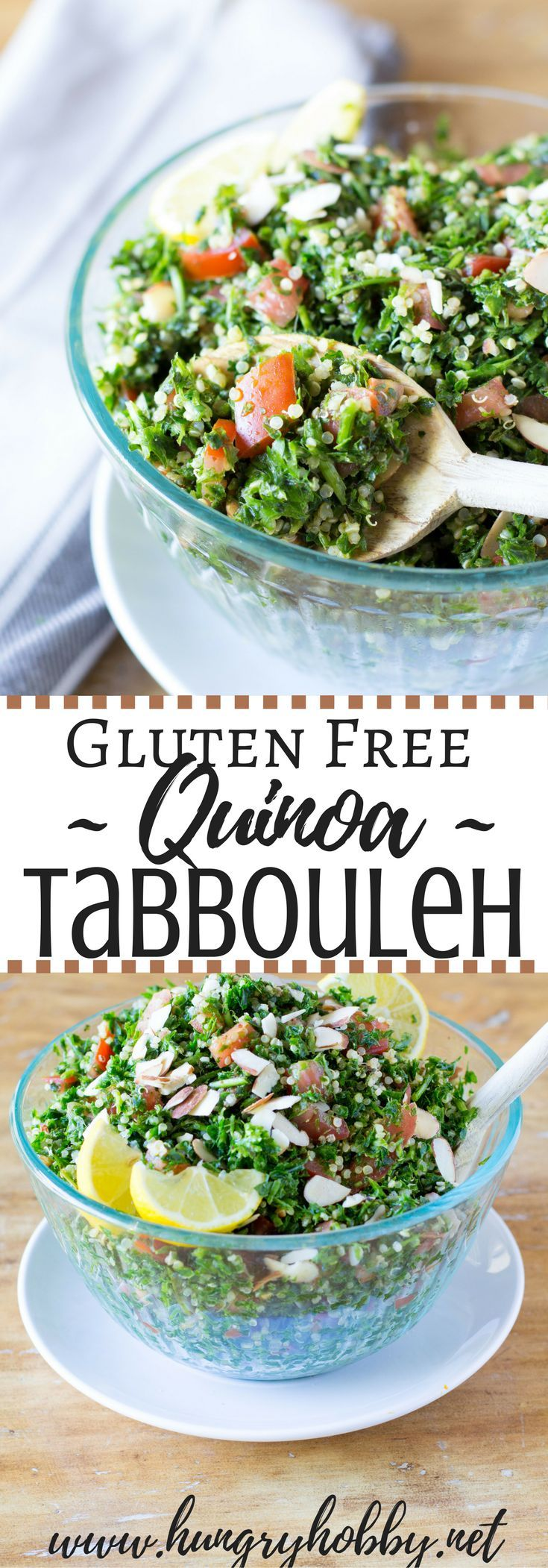 """Gluten Free Quinoa Tabbouleh Salad (Tabouli) """"parsley & quinoa salad"""" is a refreshing vegetarian side dish, dip, or addition to another recipe!"""