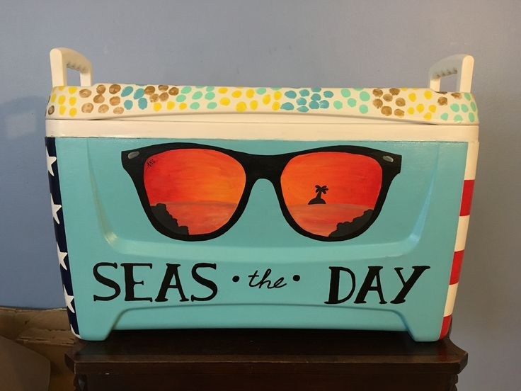 Hand painted cooler auctioned off at a local fundraiser (3/5)  Tags: Ray Bans, sunset, America, cooler corners, Primetime Coolers