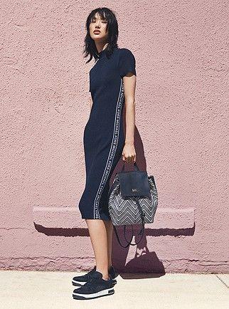 c153e9a8152 MICHAEL KORS Logo Tape Ribbed Knit Dress in 2019