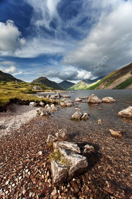A Wast Water beach on a summers evening