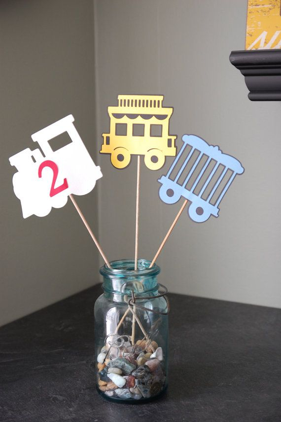 Train Centerpieces, Train Birthday Party, Train Baby Shower, Train Theme, 9 Pcs Red Yellow Blue. Make my own!