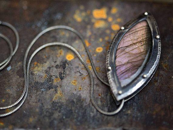Labradorite + Sterling Silver Rivet Necklace | labradorite marquise pendant | silver statement necklace | purple flash | OOAK by Uruz Metals *** #uruzmetals #labradorite #labradoritenecklace #labradoritejewelry #labradorescence #silver #silvernecklace #rivet #patina #hammertexture #hammeredsilver #cabochon #marquise #pendant #pendantsofig #rustic #purple #violet #lavender #peach #purpleflash #metalwork