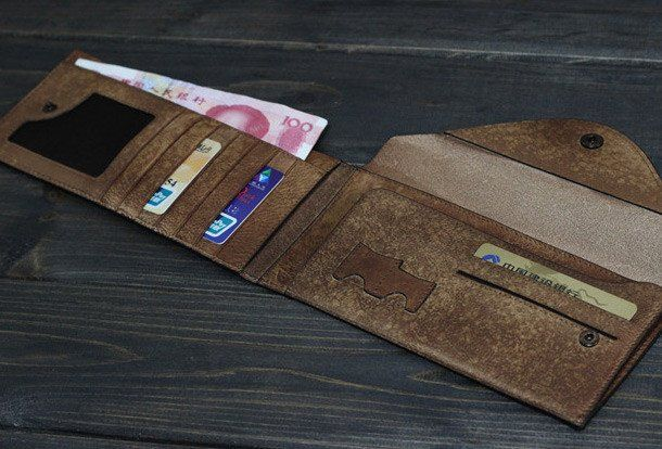 Handmade Men long leather wallet clutch men envelop vintage gray multi | EverHandmade