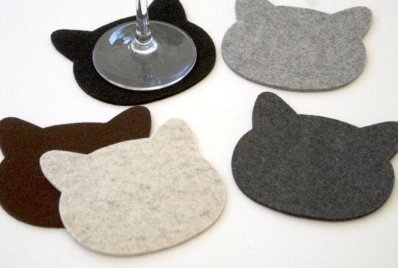NEW CAT Coasters in 3MM Thick Virgin Merino Wool by feltplanet, $16.00