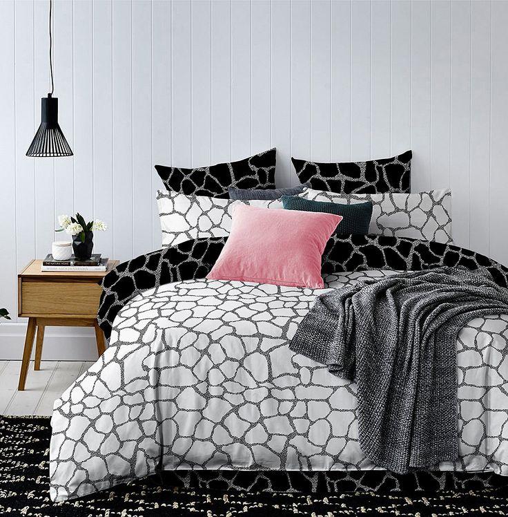 Bettwäsche mit 2 Kissenbezügen 80x80 geometrisches Muster Bettbezüge Microfaser Bettwäschegarnituren Hypnosis Viae schwarz weiß grau
