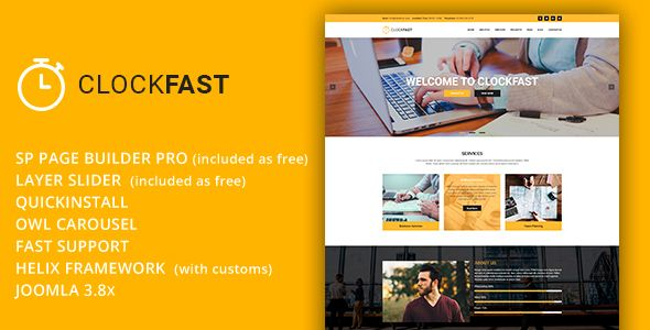 ClockFast - Multipurpose Responsive Joomla Template With Page Builder - Corporate Joomla