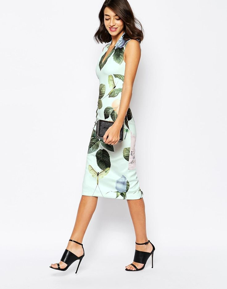 Image 1 of Ted Baker Midi Dress in Distinguishing Rose Print