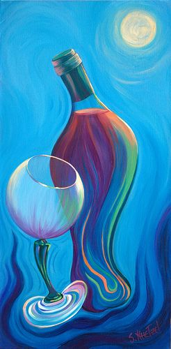 "Abstract Wine Bottle & glass Art......""Wine Affair""  acrylic by  ©Sandi Whetzel #blues"