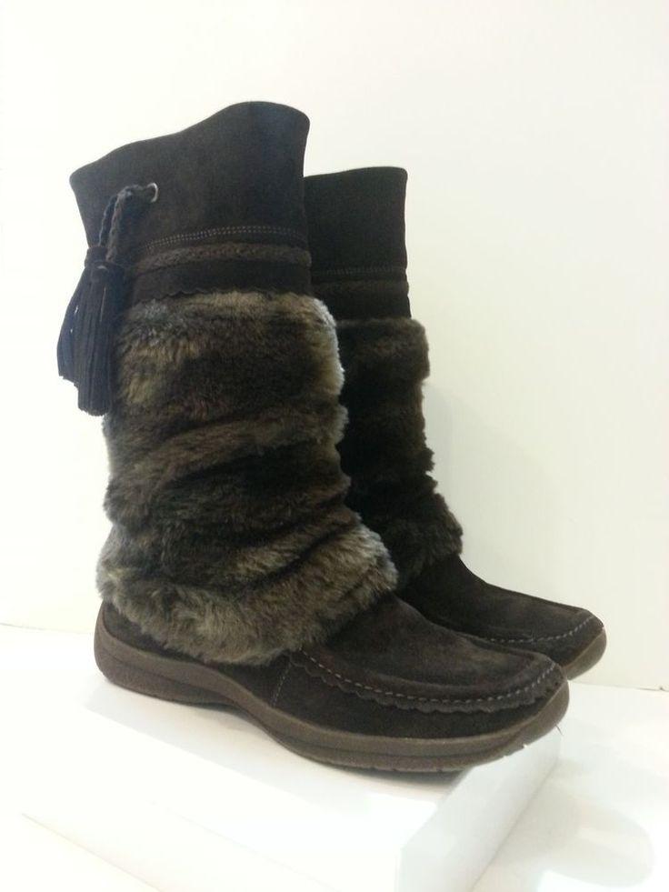 CARVELA Brown Moccasin Boots Genuine Suede Leather & Faux Fur Sz 37 Euro USA 6.5 #Carvela #SnowWinter