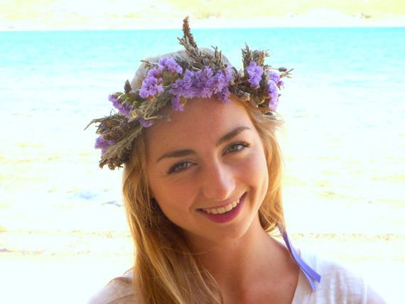 Lavender dried flower crown Lilac bridal crown by BlackSwanFeather