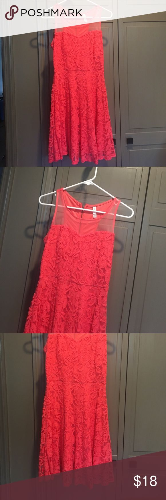Kohls Xhilaration orange lace dress sz medium Kohls Xhilaration bright deep orange/red lace dress sz medium. Worn twice for a party. In good condition. Xhilaration Dresses Mini