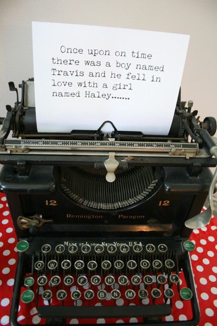 Vintage typewriter at a Bridal Shower Party!  See more party ideas at CatchMyParty.com!