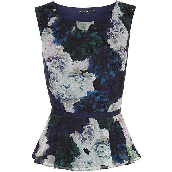 Karen Millen Rose Print Peplum Top ($85) ❤ liked on Polyvore featuring tops, karen millen tops, rose print top, embellished top, karen millen and embellished peplum top