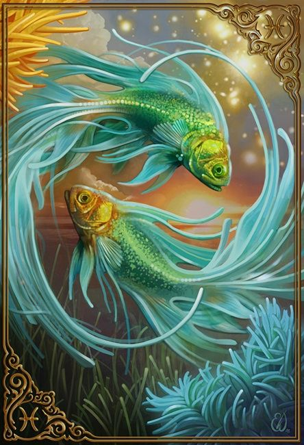 Swirling, turquoise fish..