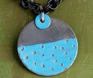 Blue Moon painted pendant by Jane Dickerson