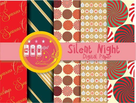 Christmas digital paper 'Silent Night' red gold by GemmedSnail, $2.00