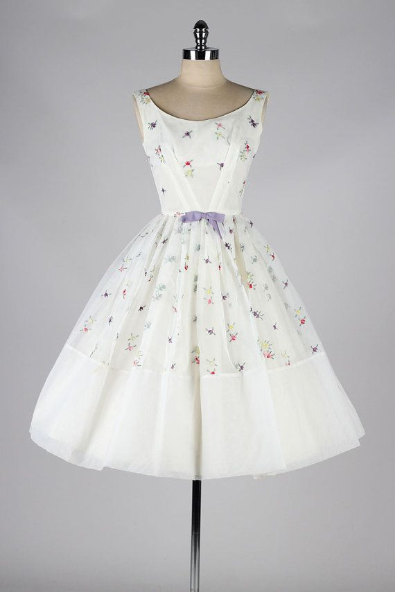 1950's Embroidered Chiffon Dress